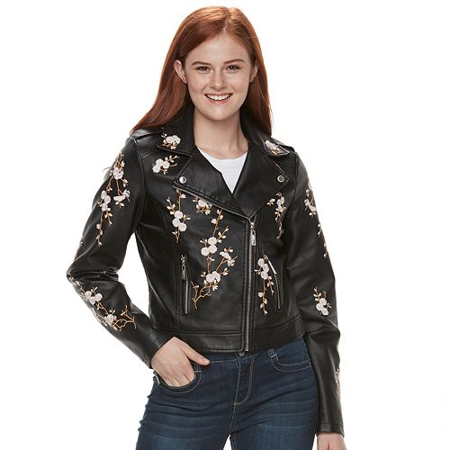 newest official site newest Juniors' J-2 Floral Embroidered Moto Faux-Leather Jacket