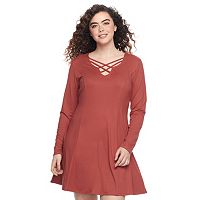 Juniors' Plus Size Mudd® Sueded Strappy Neck Dress