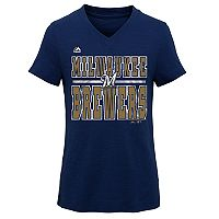 Girls 7-16 Majestic Milwaukee Brewers On Base Tee