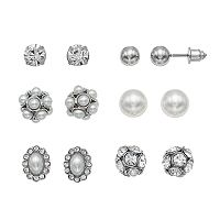 Mudd® Nickel Free Simulated Crystal & Simulated Pearl Stud Earring Set
