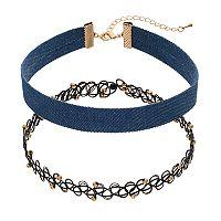 Mudd® Blue Denim & Beaded Tattoo Choker Necklace Set