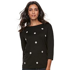 Women's ELLE™ Glitter Dot Crewneck Sweater