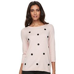 Women's ELLE™ Glitter Dot Crewneck Sweater