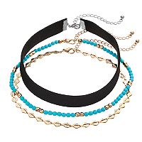 Mudd® Teal Bead & Velvet Choker Necklace Set