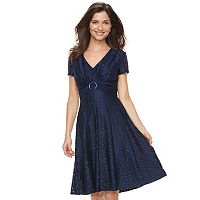 Women's Perceptions Lace Fit & Flare Dress