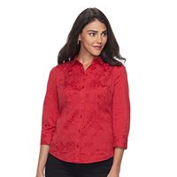 Petite Dana Buchman Princess-Seam Button-Down Shirt