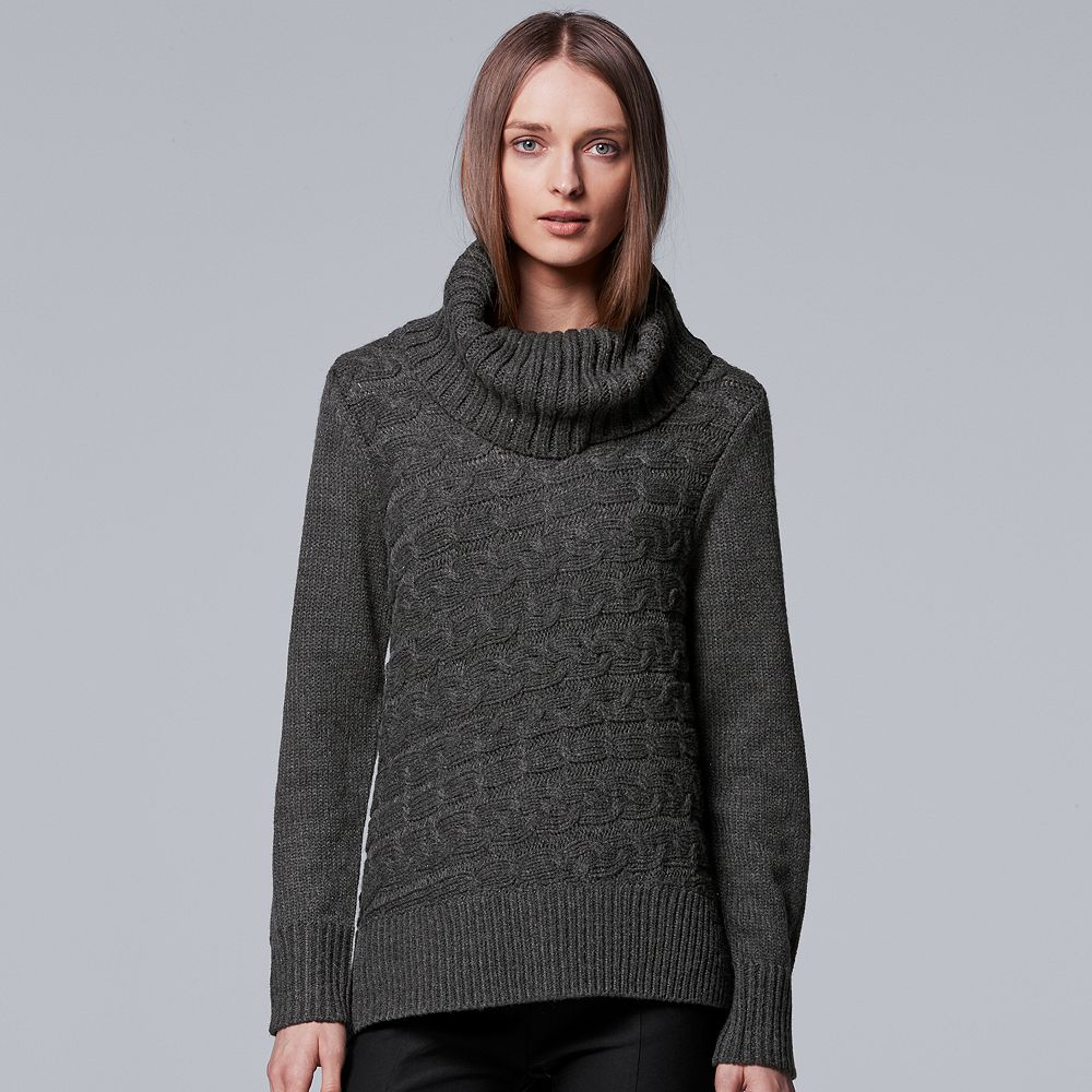 Simply Vera Vera Wang Cable Knit Turtleneck Sweater
