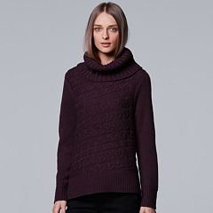 Women's Simply Vera Vera Wang Cable Knit Turtleneck Sweater