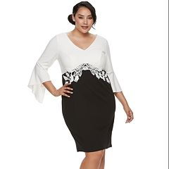 Plus Size Chaya Bell Sleeve Colorblock Dress