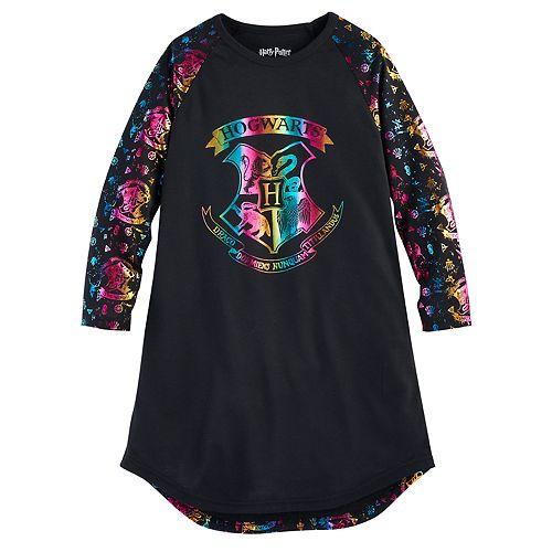 Girls 7-16 Harry Potter Hogwarts Rainbow Foil Dorm Nightgown