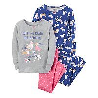 Girls 4-14 Carter's 4 pc Dog Tops & Bottoms Pajama Set