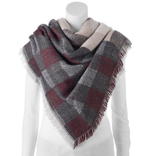 Apt. 9® Plaid Patchwork Frayed Blanket Scarf