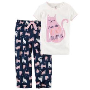 """Girls 4-14 Carter's """"I am the Cats Pajamas"""" Top & Bottoms Pajama Set"""