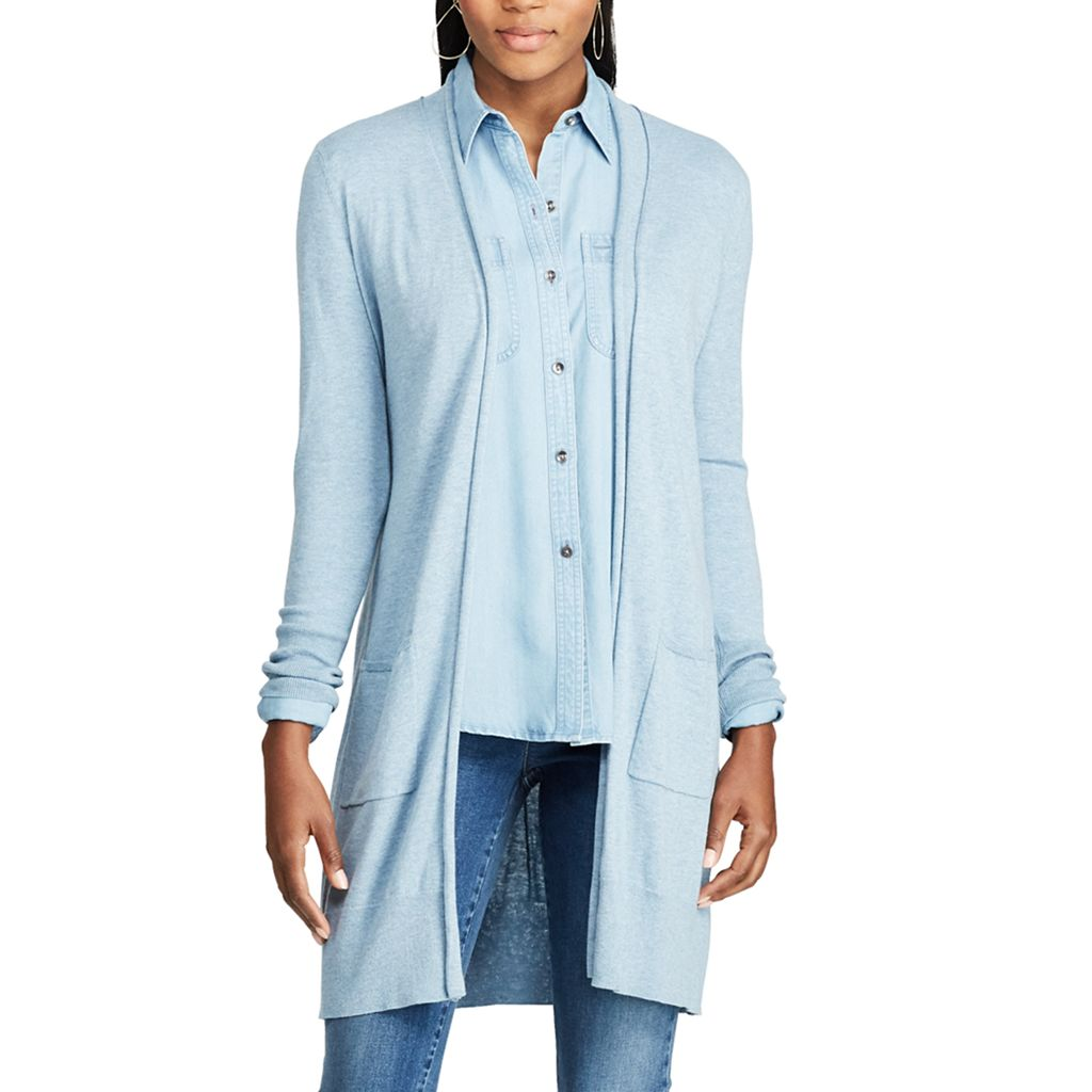 Petite Chaps Open-Front Long Sleeve Cardigan