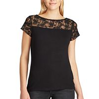 Petite Chaps Lace-Trim Jersey Tee