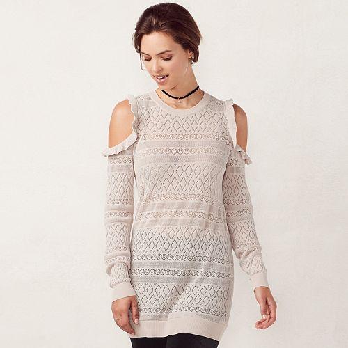 Women's LC Lauren Conrad Pointelle Cold-Shoulder Crewneck Sweater