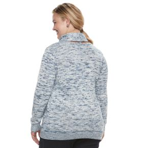 Plus Size Croft & Barrow® Space-Dyed Cowlneck Sweater