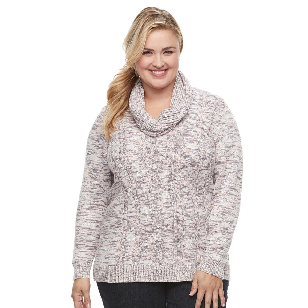 Size Croft & Barrow® Space-Dyed Cowlneck Sweater