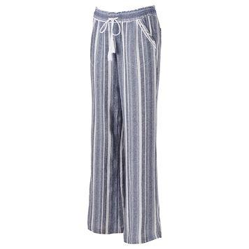 Juniors' Rewind Striped Linen Blend Pants