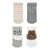 Baby Girl / Toddler Girl Jumping Beans® 4-pk. Neutral Colors Critter Crew Socks