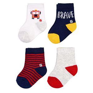 Baby Boy / Toddler Boy Jumping Beans® 4-pk. Firetruck Crew Socks
