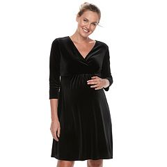 Maternity a:glow Velvet Faux-Wrap Dress