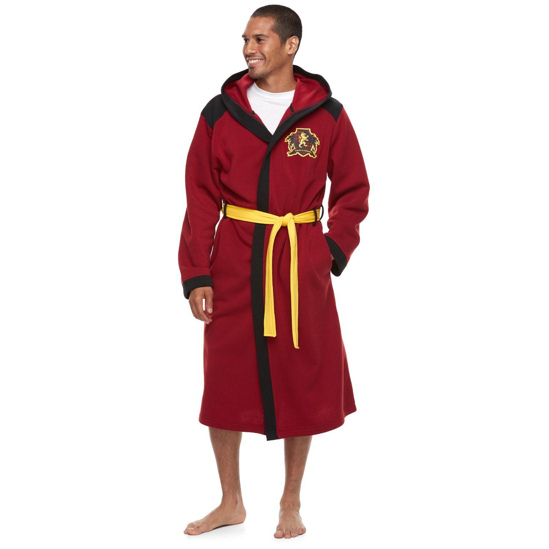menu0027s harry potter gryffindor hooded robe - Mens Bathrobes