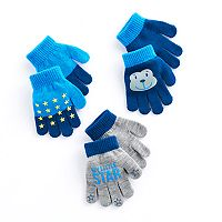 Toddler Boy Star & Monkey 3-pk. Grip Gloves