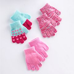 Toddler Girl Heart, Smiley Face & Space-Dyed 3 pkGrip Gloves