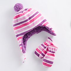 Baby Girl Striped Trapper Hat & Mittens Set