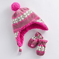 Baby Girl Fairisle Trapper Hat & Mittens Set