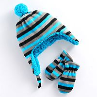 Baby Boy Striped Trapper Hat & Mittens Set