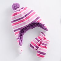 Toddler Girl Striped Trapper Hat & Mittens Set