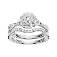 I Promise You Sterling Silver 1/2 Carat T.W. Diamond Halo Promise Ring Set