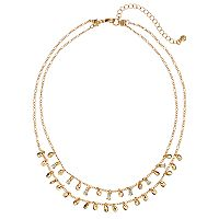 LC Lauren Conrad Teardrop Double Strand Fringe Necklace