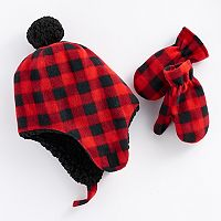 Toddler Boy Plaid Trapper Hat & Mittens Set