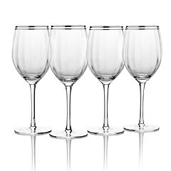 Mikasa Haley Platinum 4 pc Goblet Wine Glass Set