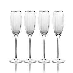 Mikasa Haley Platinum 4-pc. Champagne Flute Set