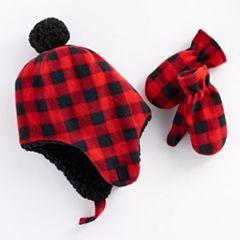 Baby Boy Plaid Trapper Hat & Mittens Set