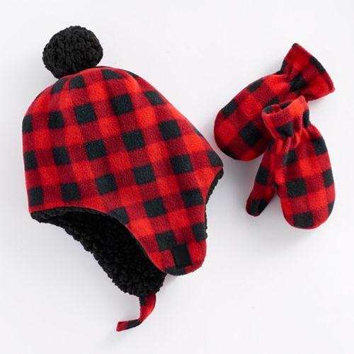 Baby Boy Plaid Trapper Hat   Mittens Set 33dbcfd07d7
