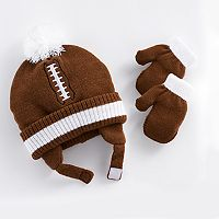 Baby Boy Football Hat & Mittens Set