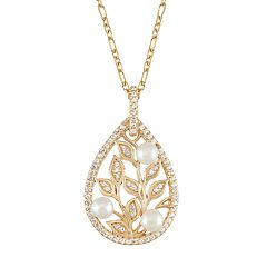 18k Gold Over Silver Freshwater Cultured Pearl Teardrop Leaf Pendant Necklace