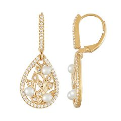 18k Gold Over Silver Freshwater Cultured Pearl Teardrop Leaf Earrings