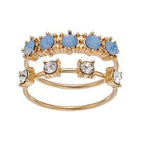 LC Lauren Conrad Blue Simulated Opal Ring Set