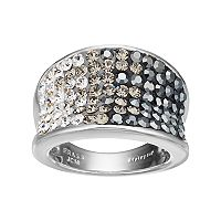 Confetti Silver Plated Crystal Concave Ring
