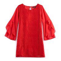 Girls 7-16 My Michelle Crocheted Shift Dress