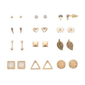 Arrow, Heart, Leaf & Wing Nickel Free Stud Earring Set