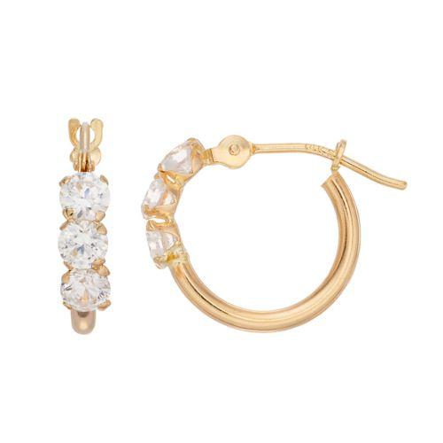Charming Girl Kids 14k Gold Hoop Earrings With Swarovski Zirconia