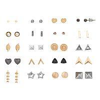 Heart, Star, Arrow & Geometric Nickel Free Stud Earring Set