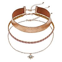 Starburst Charm & Braided Choker Necklace Set